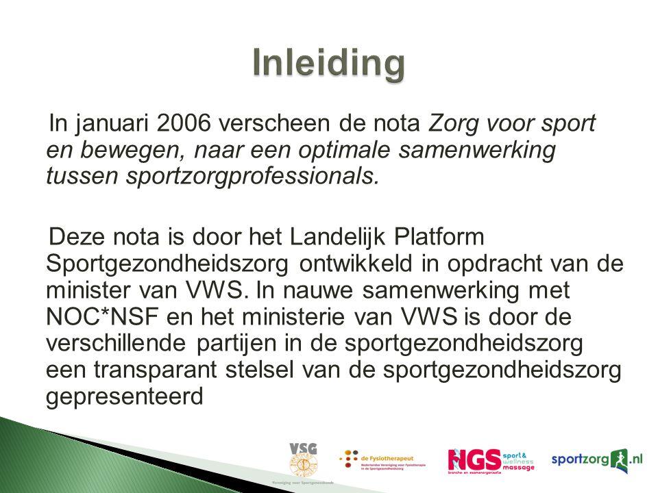 Inleiding In januari 2006 verscheen de nota Zorg voor sport en bewegen, naar een optimale samenwerking tussen sportzorgprofessionals.
