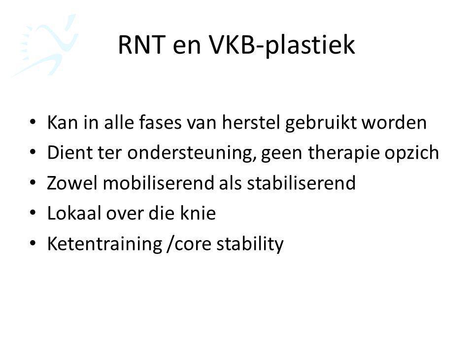 RNT en VKB-plastiek Kan in alle fases van herstel gebruikt worden