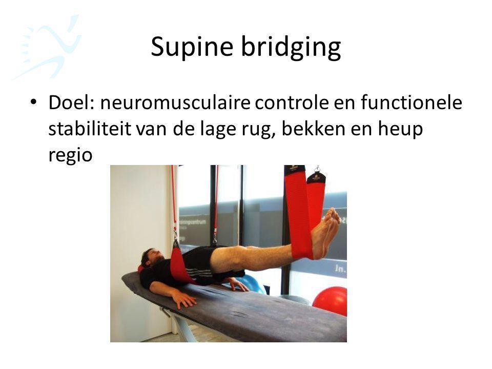 Supine bridging Doel: neuromusculaire controle en functionele stabiliteit van de lage rug, bekken en heup regio.