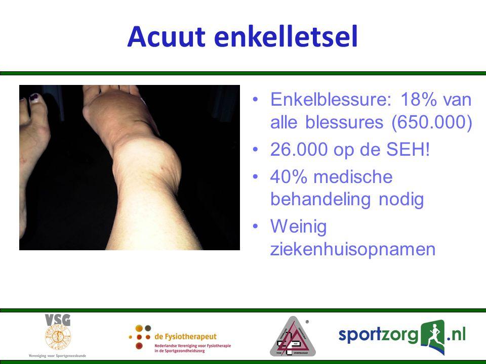 Acuut enkelletsel Enkelblessure: 18% van alle blessures (650.000)