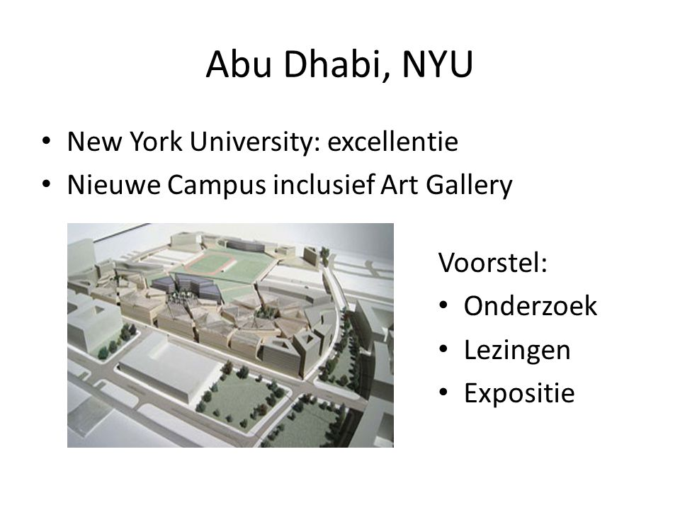 Abu Dhabi, NYU New York University: excellentie