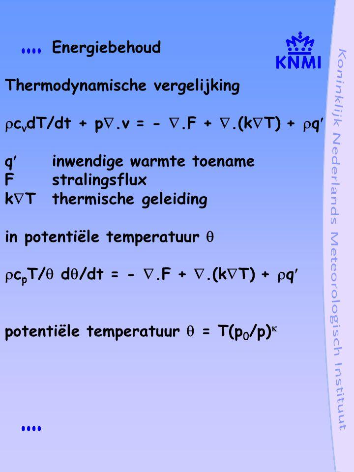 Energiebehoud Thermodynamische vergelijking. cvdT/dt + p.v = - .F + .(kT) + q q inwendige warmte toename.