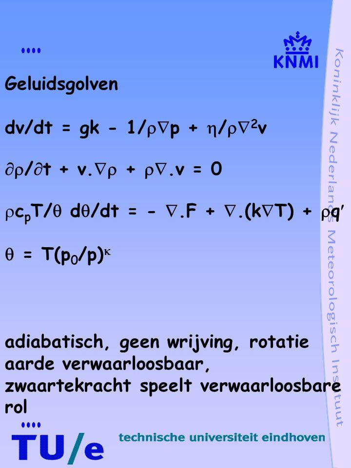 Geluidsgolven dv/dt = gk - 1/p + /2v. /t + v. + .v = 0. cpT/ d/dt = - .F + .(kT) + q