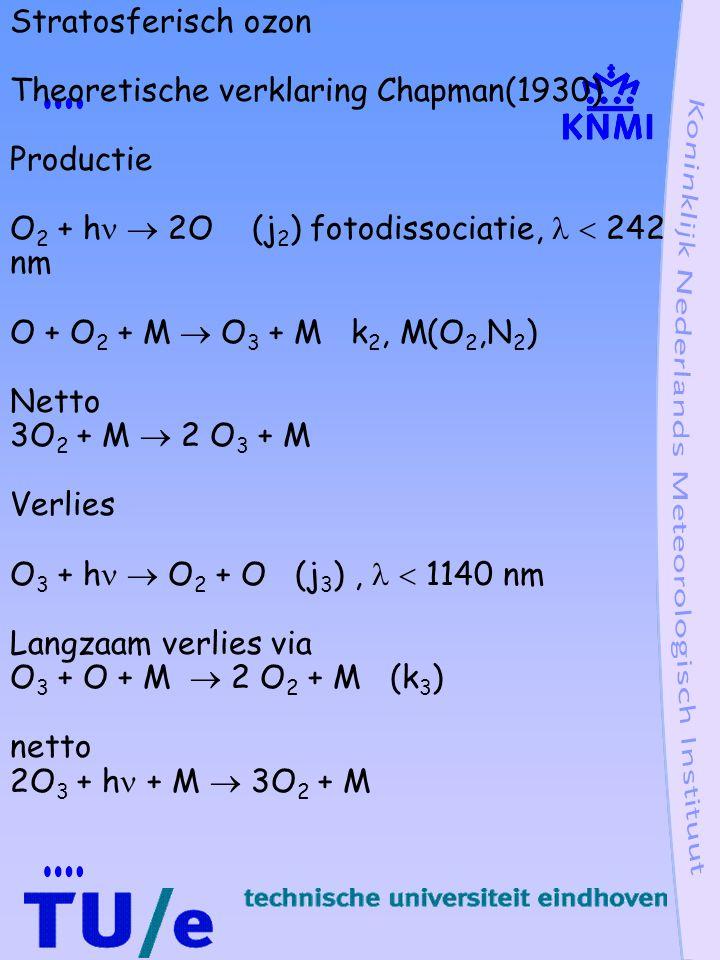 Stratosferisch ozon Theoretische verklaring Chapman(1930) Productie. O2 + h  2O (j2) fotodissociatie,   242 nm.