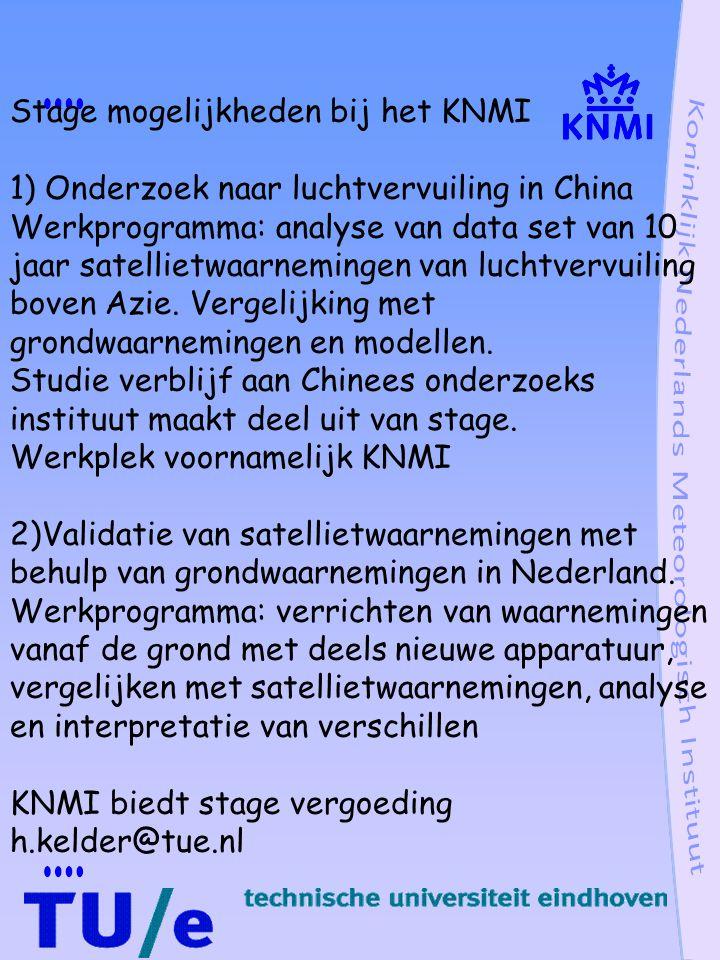 Stage mogelijkheden bij het KNMI