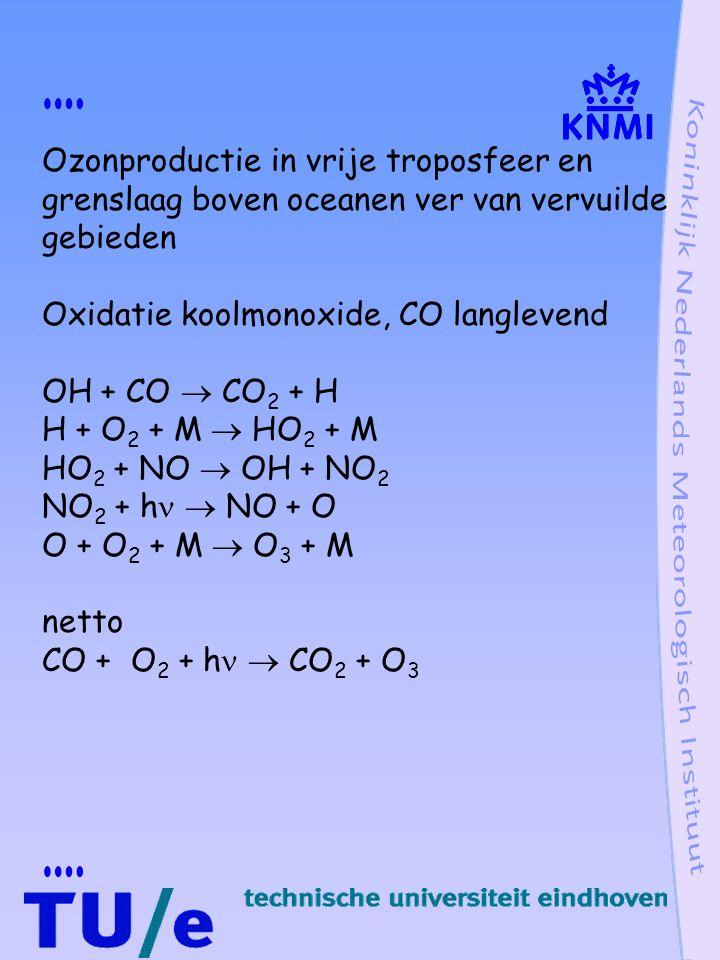 Ozonproductie in vrije troposfeer en grenslaag boven oceanen ver van vervuilde gebieden