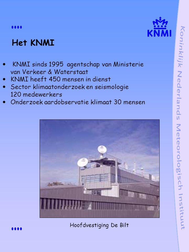 Het KNMI KNMI sinds 1995 agentschap van Ministerie