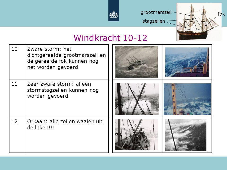 grootmarszeil fok. stagzeilen. Windkracht 10-12. 10.