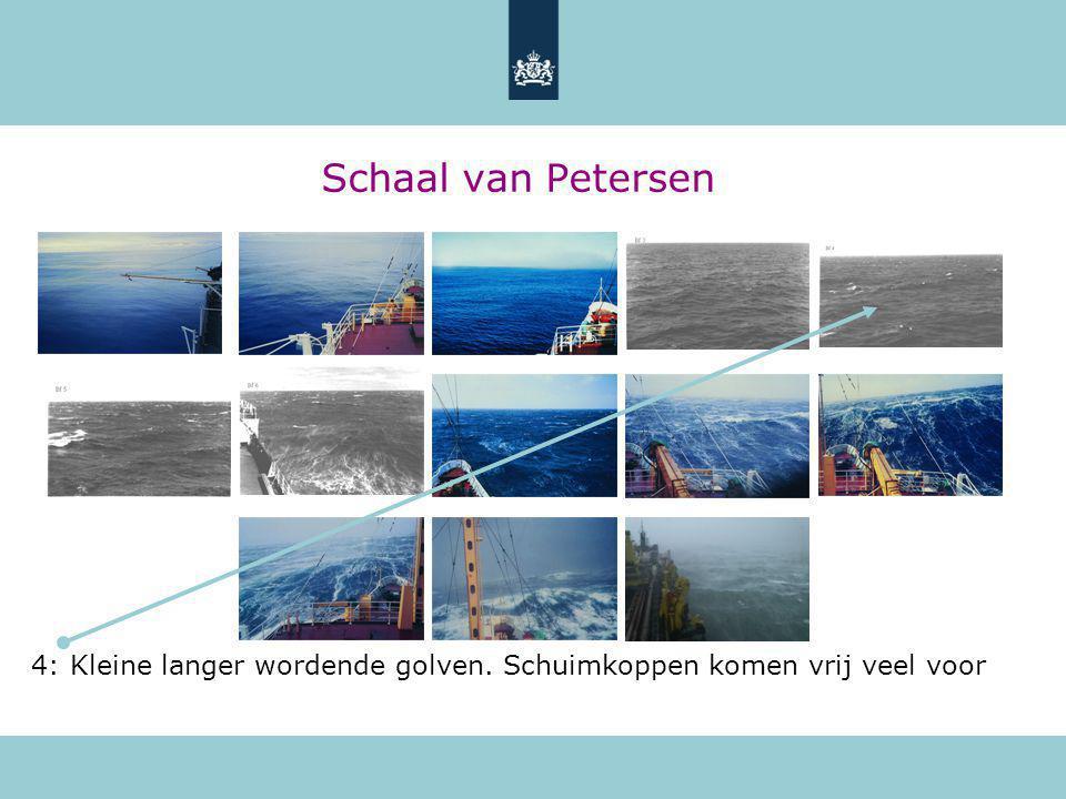 Schaal van Petersen 4: Kleine langer wordende golven. Schuimkoppen komen vrij veel voor