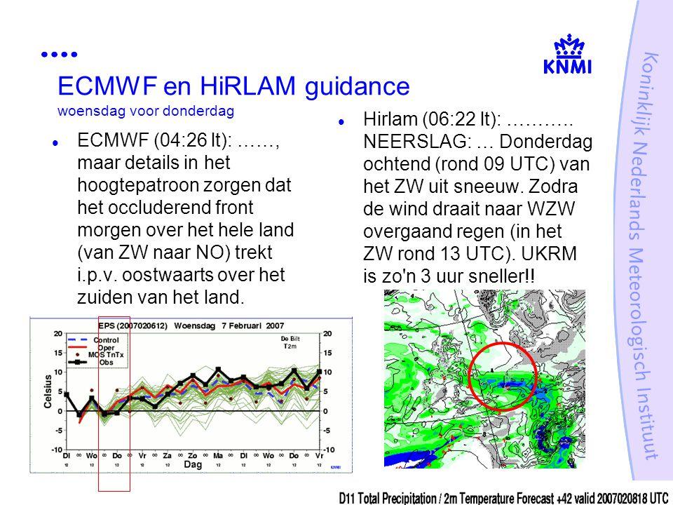 ECMWF en HiRLAM guidance woensdag voor donderdag