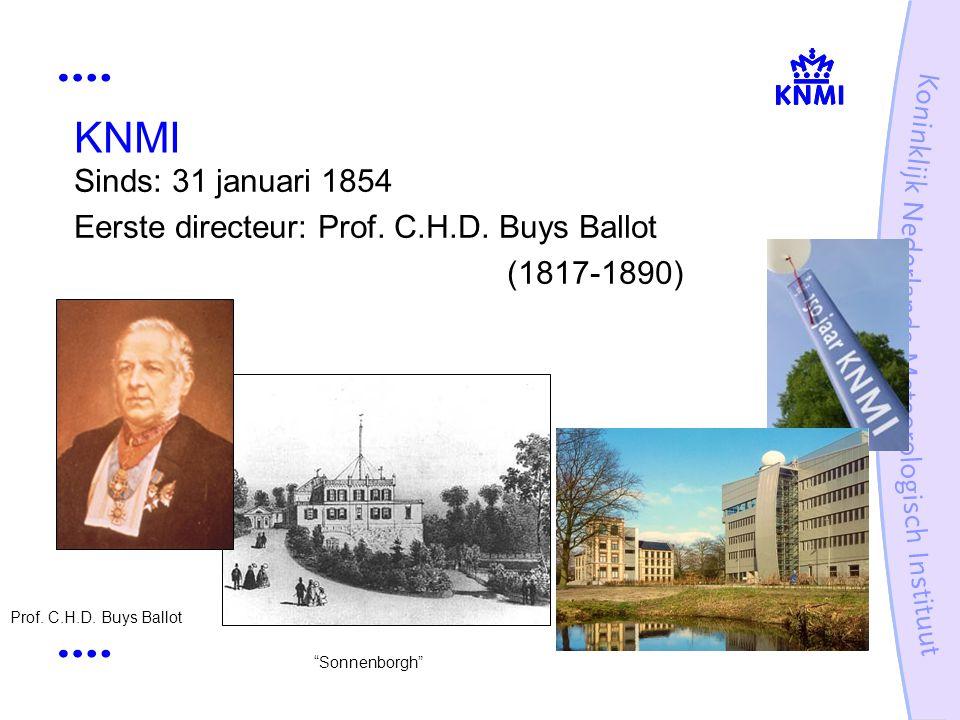 KNMI Sinds: 31 januari 1854 Eerste directeur: Prof. C.H.D. Buys Ballot