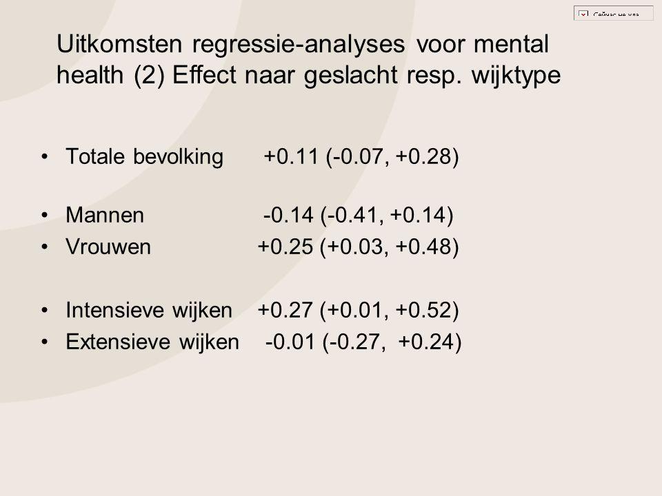 Uitkomsten regressie-analyses voor mental health (2) Effect naar geslacht resp. wijktype