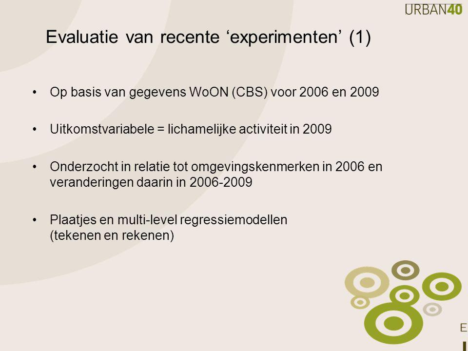 Evaluatie van recente 'experimenten' (1)