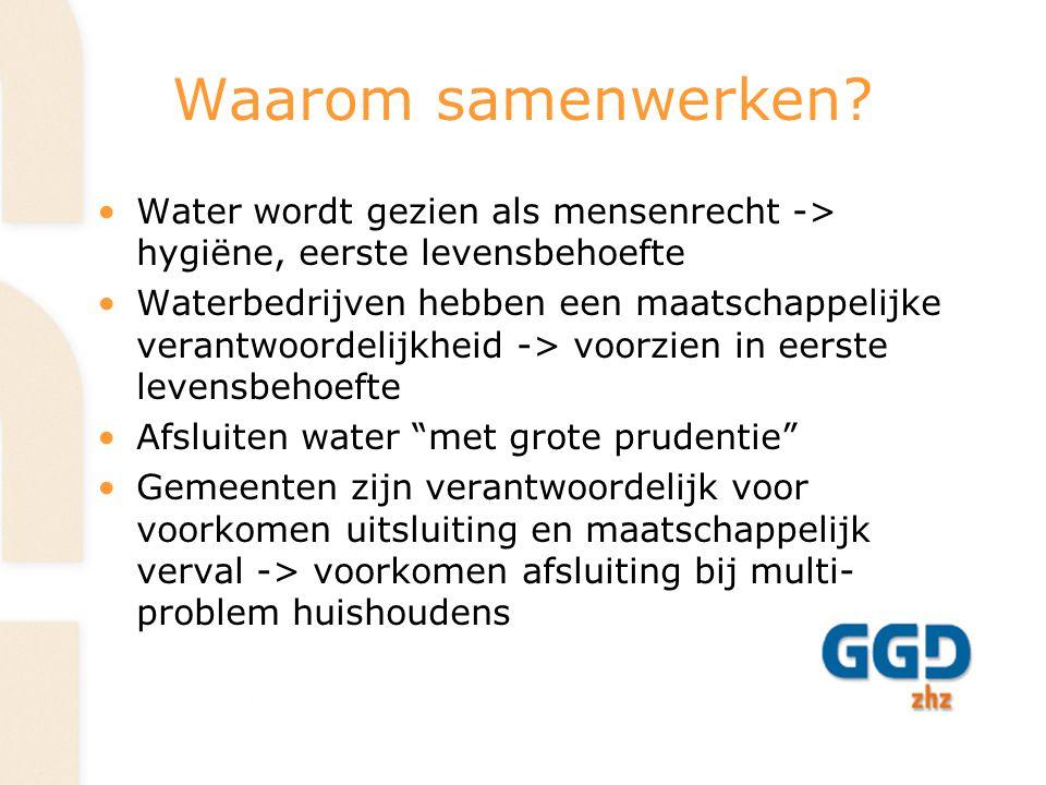 Waarom samenwerken Water wordt gezien als mensenrecht -> hygiëne, eerste levensbehoefte.