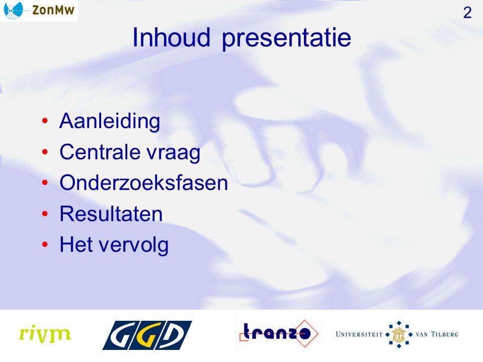 Inhoud presentatie Aanleiding Centrale vraag Onderzoeksfasen