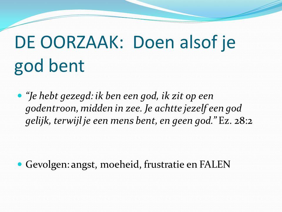 DE OORZAAK: Doen alsof je god bent