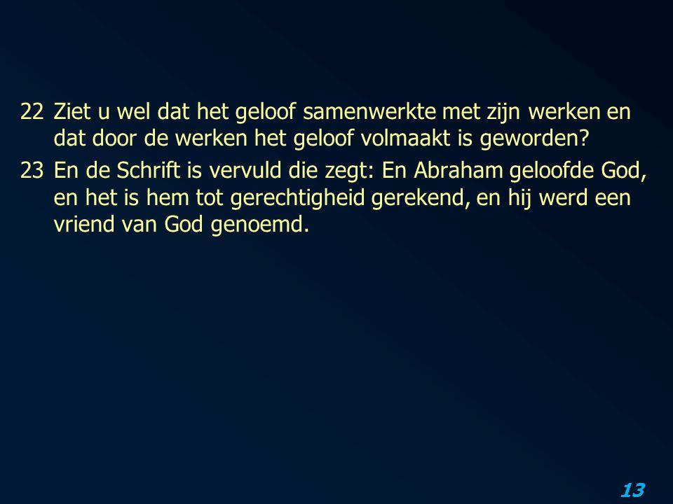 22 Ziet u wel dat het geloof samenwerkte met zijn werken en dat door de werken het geloof volmaakt is geworden.