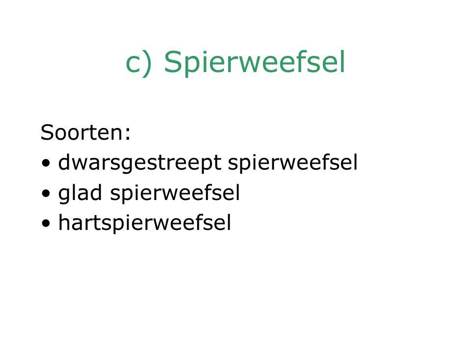c) Spierweefsel Soorten: dwarsgestreept spierweefsel glad spierweefsel