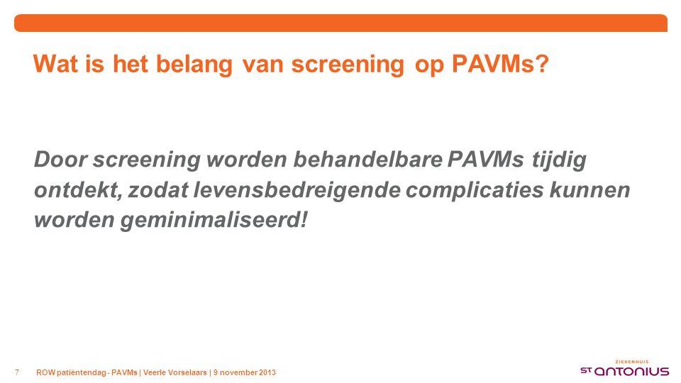 Hoe kunnen we PAVMs behandelen