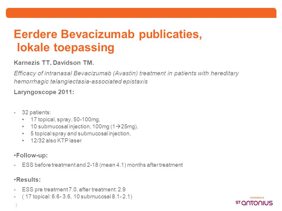 Eerdere Bevacizumab publicaties, lokale toepassing