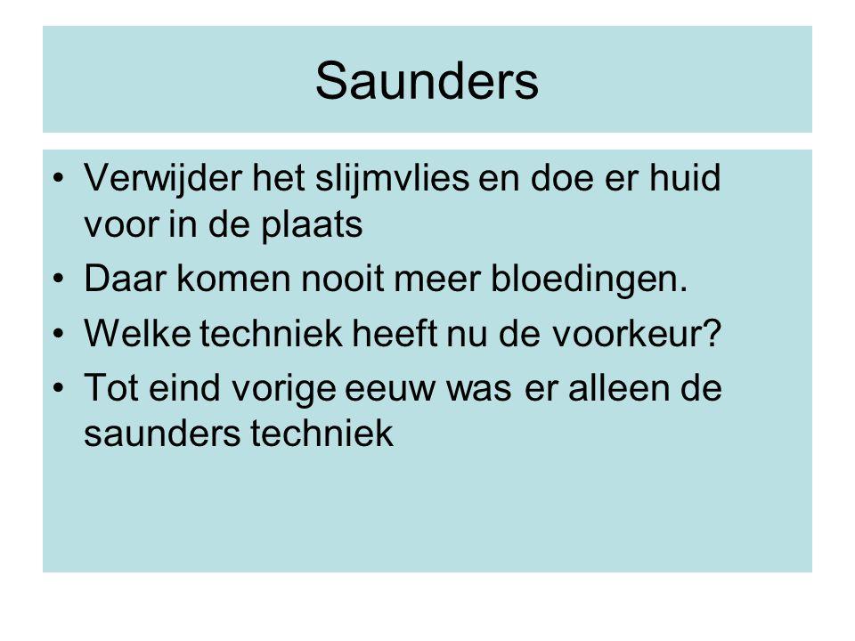 Saunders Verwijder het slijmvlies en doe er huid voor in de plaats
