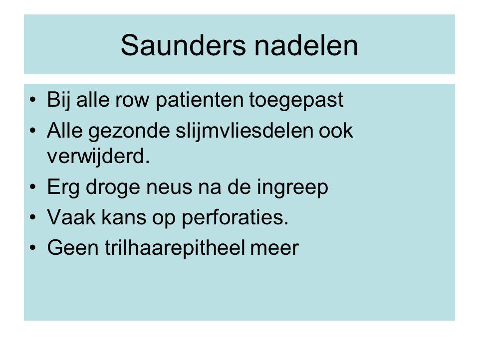 Saunders nadelen Bij alle row patienten toegepast