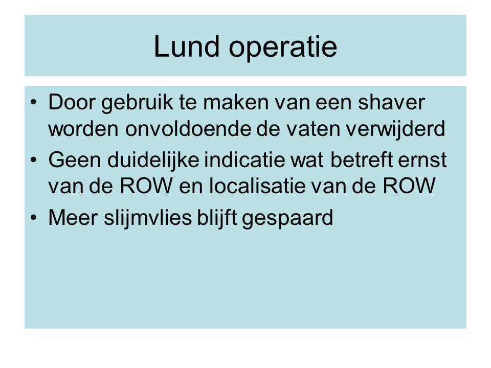 Lund operatie Door gebruik te maken van een shaver worden onvoldoende de vaten verwijderd.