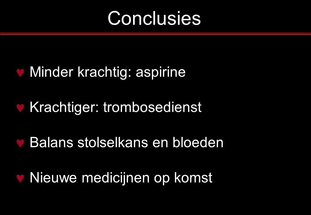 Conclusies Minder krachtig: aspirine Krachtiger: trombosedienst