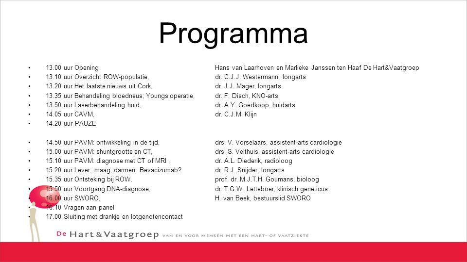 Programma 13.00 uur Opening Hans van Laarhoven en Marlieke Janssen ten Haaf De Hart&Vaatgroep.