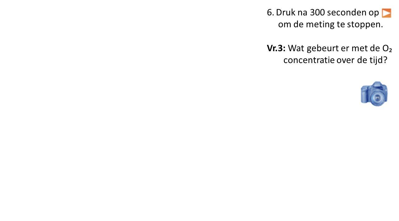 Vr.3: Wat gebeurt er met de O₂ concentratie over de tijd
