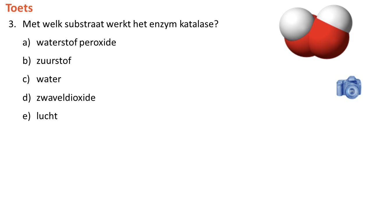 Toets Met welk substraat werkt het enzym katalase waterstof peroxide