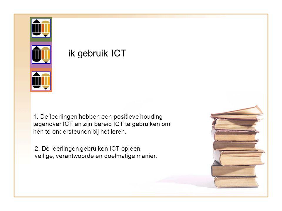 ik gebruik ICT 1. De leerlingen hebben een positieve houding tegenover ICT en zijn bereid ICT te gebruiken om hen te ondersteunen bij het leren.