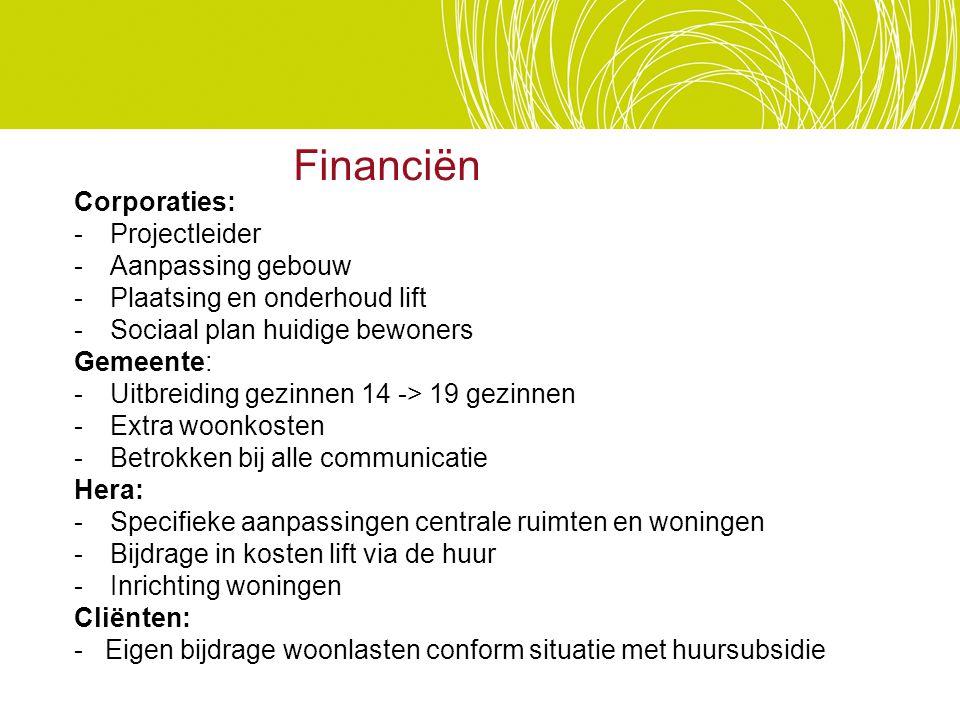 Financiën Corporaties: - Projectleider Aanpassing gebouw