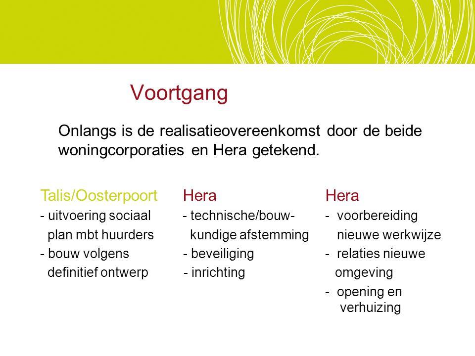 Voortgang Onlangs is de realisatieovereenkomst door de beide woningcorporaties en Hera getekend. Talis/Oosterpoort Hera Hera.
