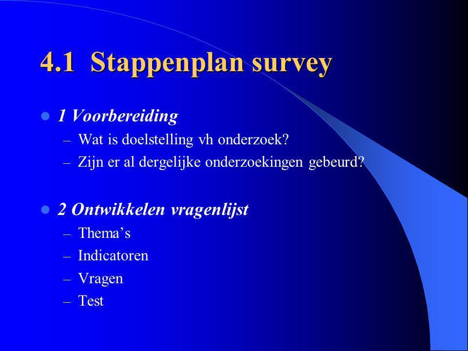 4.1 Stappenplan survey 1 Voorbereiding 2 Ontwikkelen vragenlijst