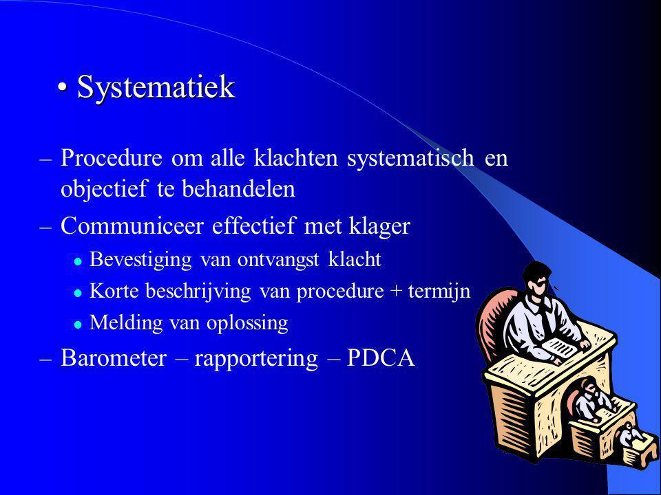 Systematiek Procedure om alle klachten systematisch en objectief te behandelen. Communiceer effectief met klager.