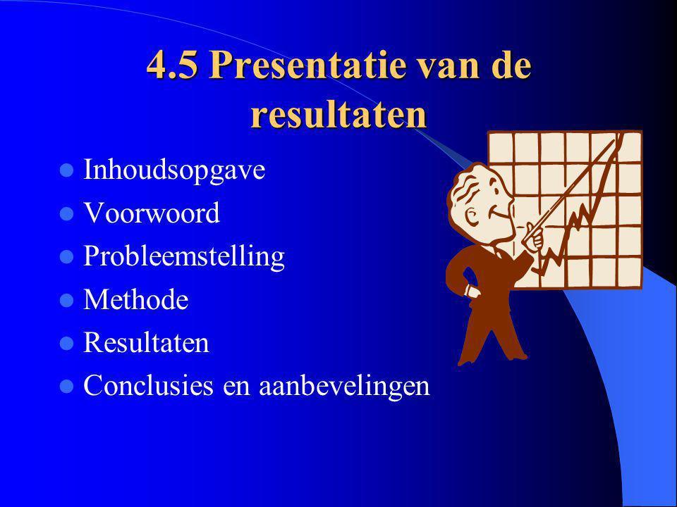 4.5 Presentatie van de resultaten
