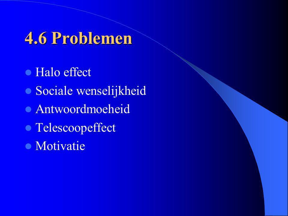 4.6 Problemen Halo effect Sociale wenselijkheid Antwoordmoeheid