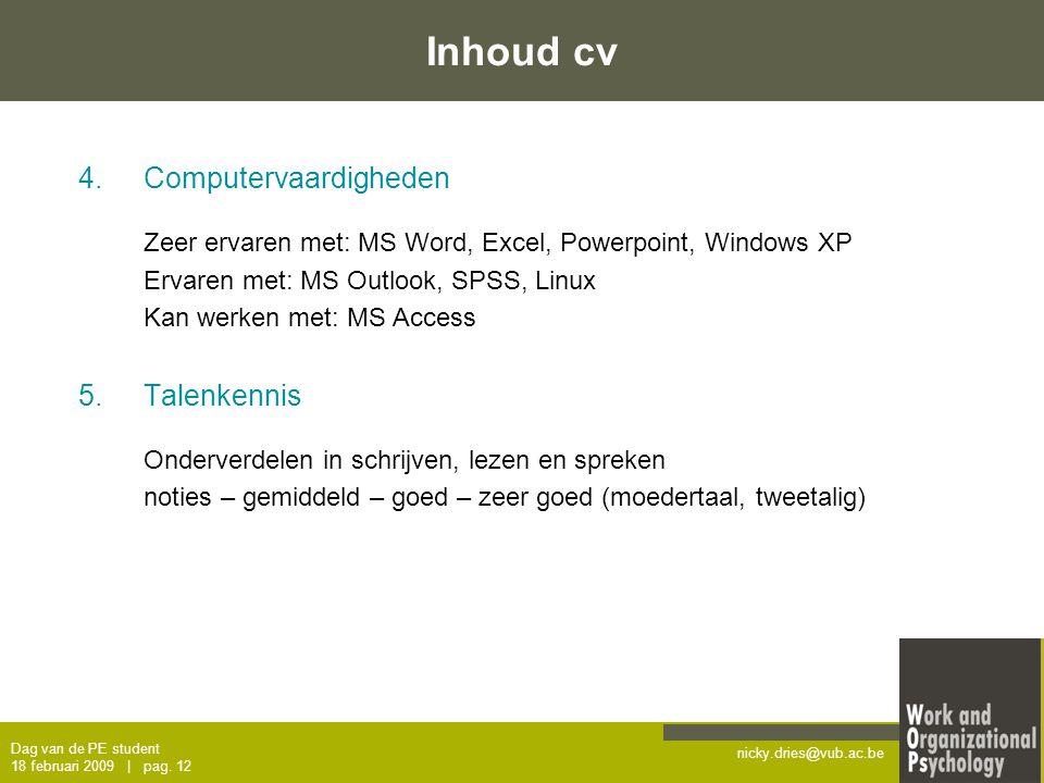 Inhoud cv Computervaardigheden Talenkennis