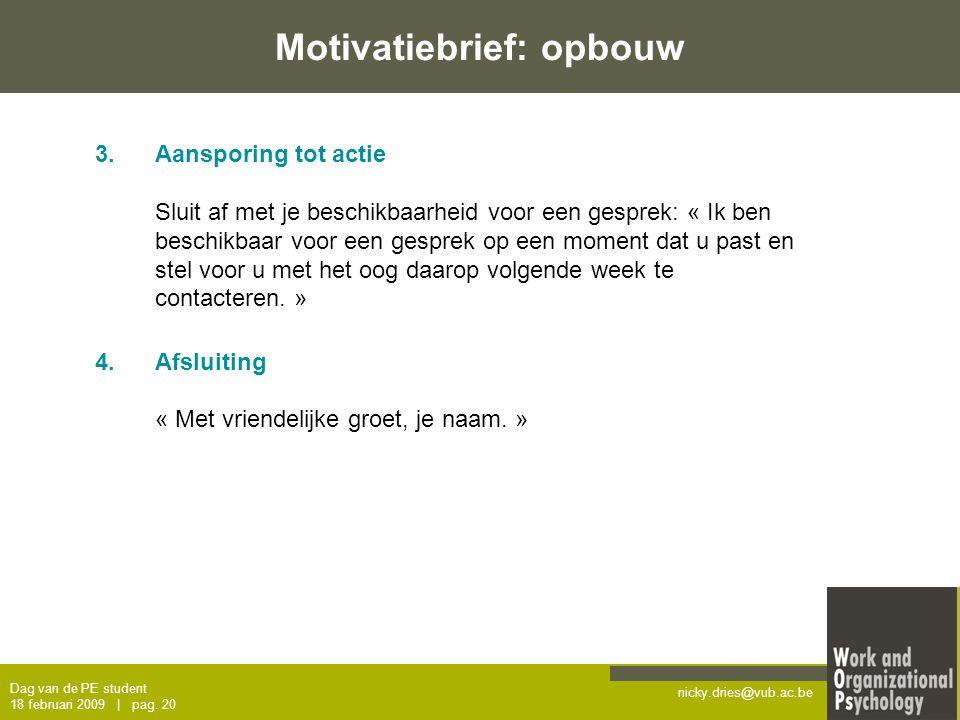 Motivatiebrief: opbouw