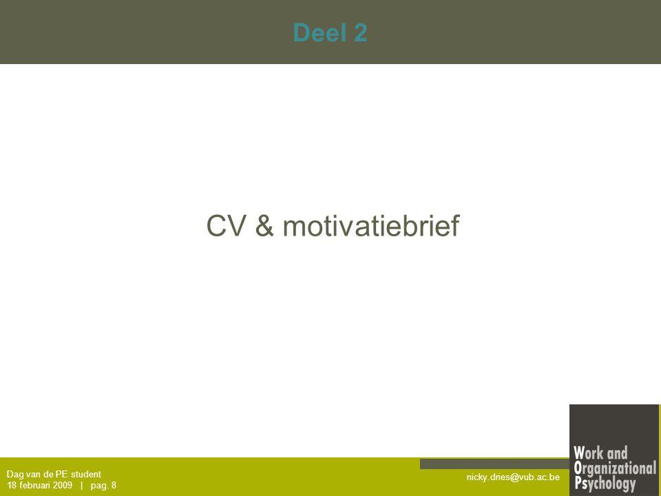 CV & motivatiebrief Deel 2 Dag van de PE student