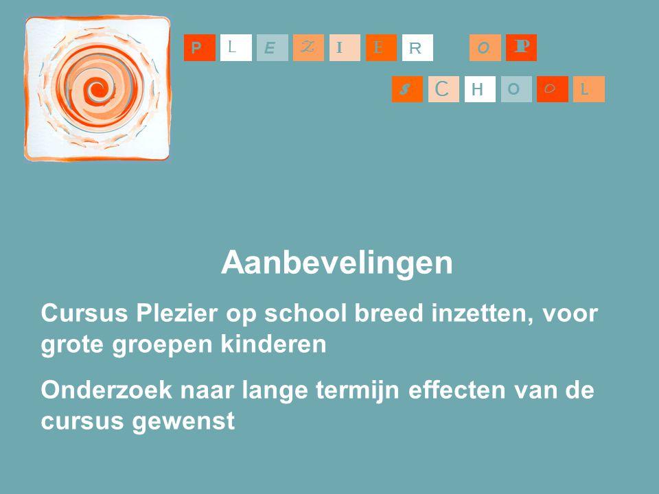 P L. E. Z. I. E. R. O. P. S. C. H. O. O. L. Aanbevelingen. Cursus Plezier op school breed inzetten, voor grote groepen kinderen.