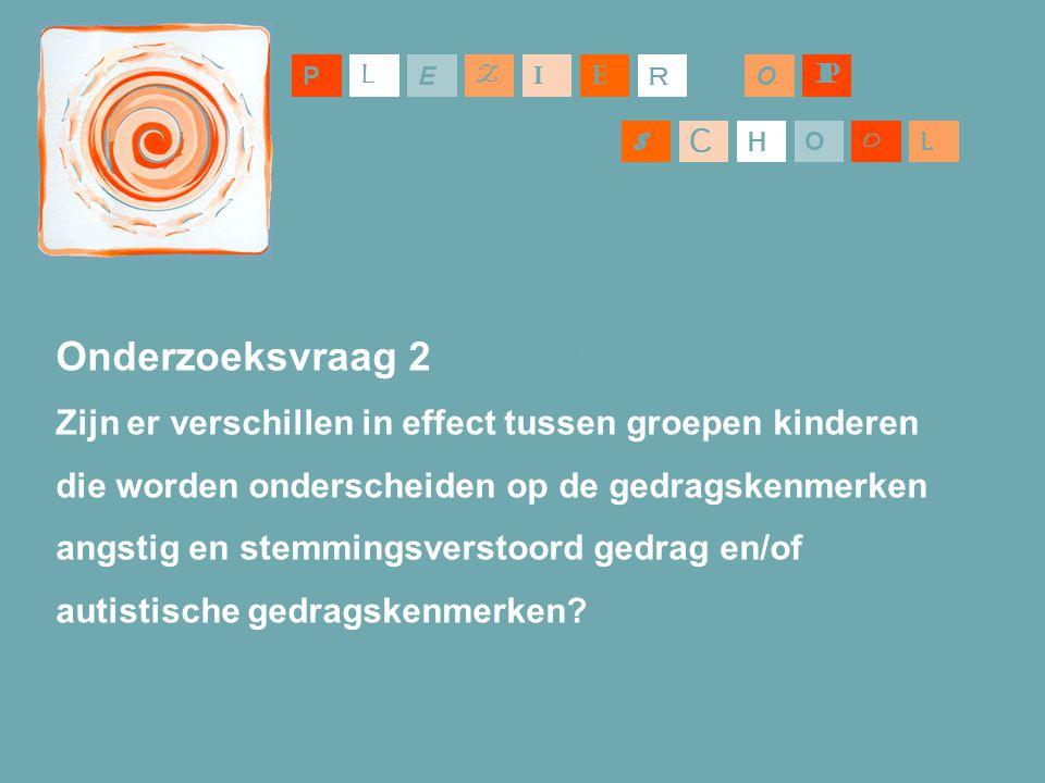 P L. E. Z. I. E. R. O. P. S. C. H. O. O. L. Onderzoeksvraag 2. Zijn er verschillen in effect tussen groepen kinderen.