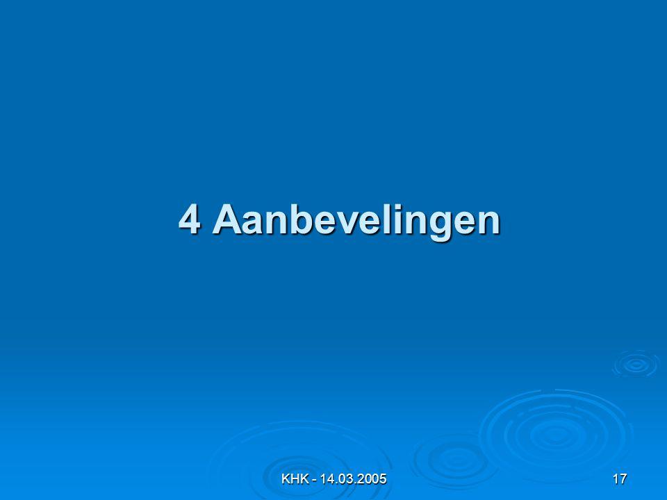 4 Aanbevelingen KHK - 14.03.2005