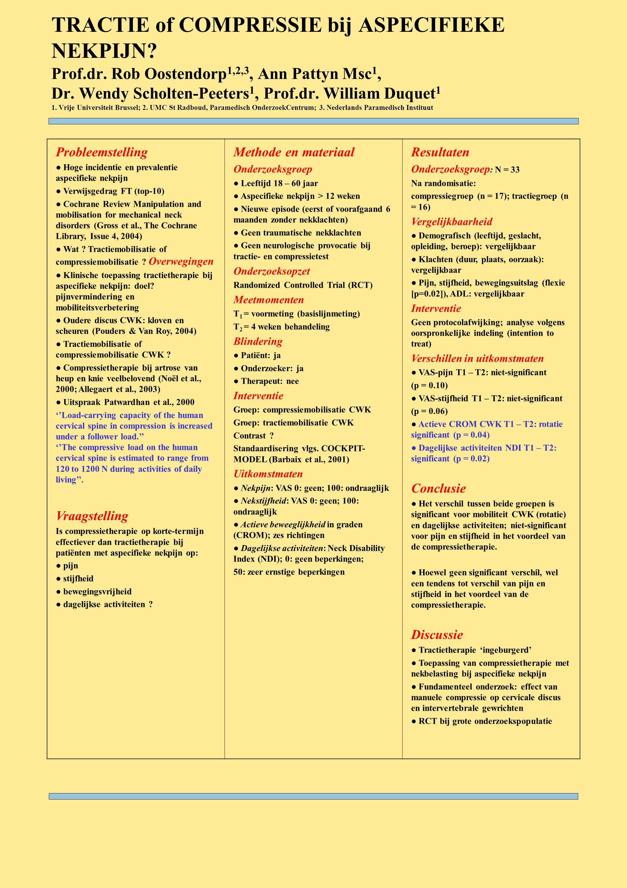 TRACTIE of COMPRESSIE bij ASPECIFIEKE NEKPIJN. Prof. dr