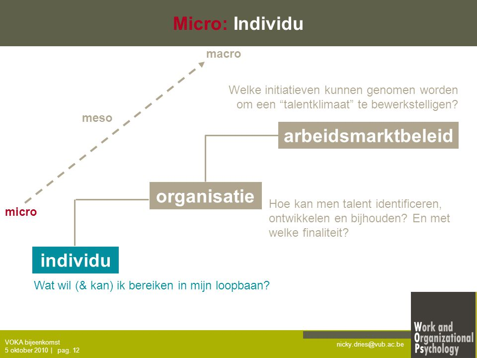 Micro: Individu arbeidsmarktbeleid organisatie individu