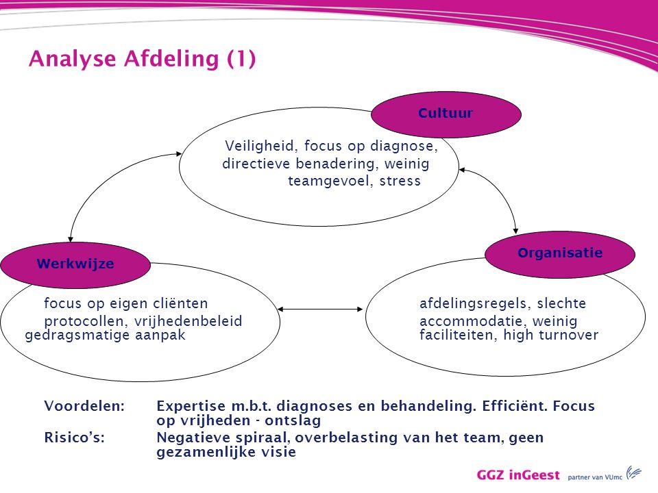 Analyse Afdeling (1) directieve benadering, weinig teamgevoel, stress