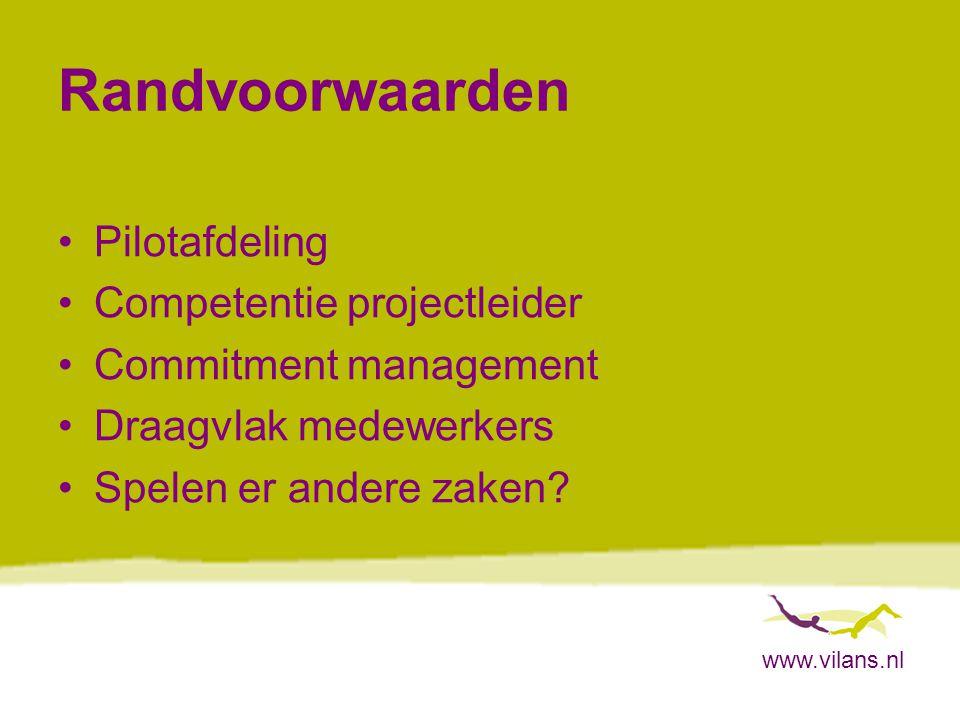 Randvoorwaarden Pilotafdeling Competentie projectleider