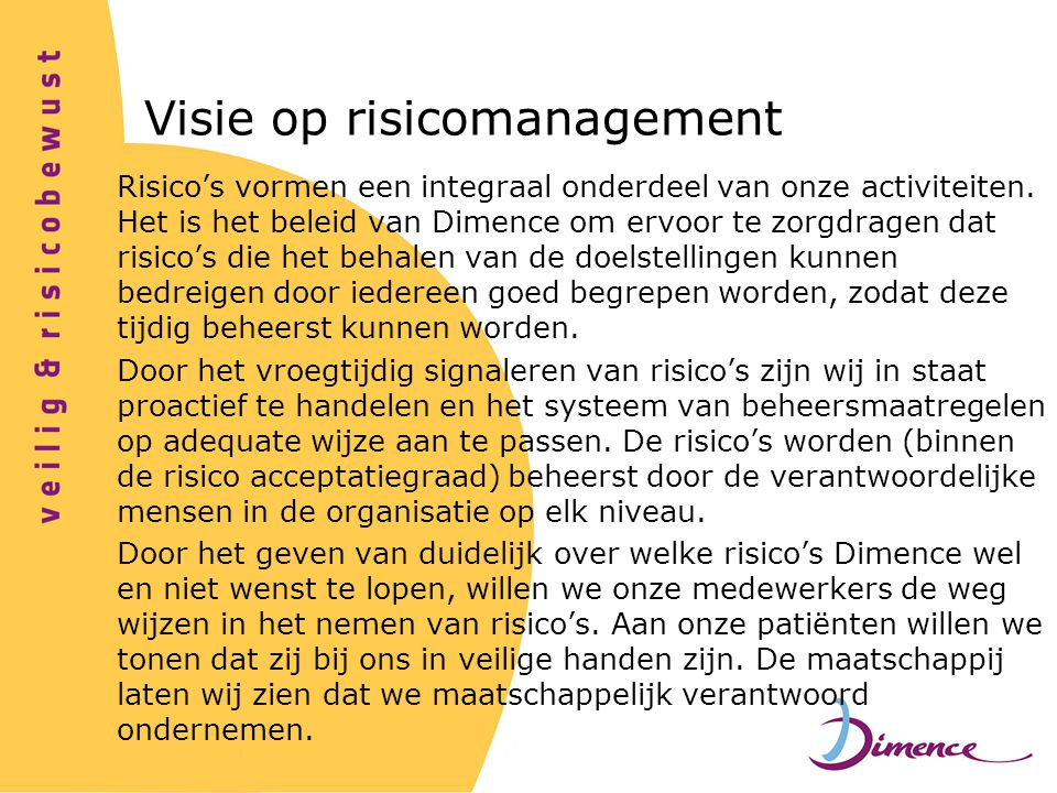 Visie op risicomanagement