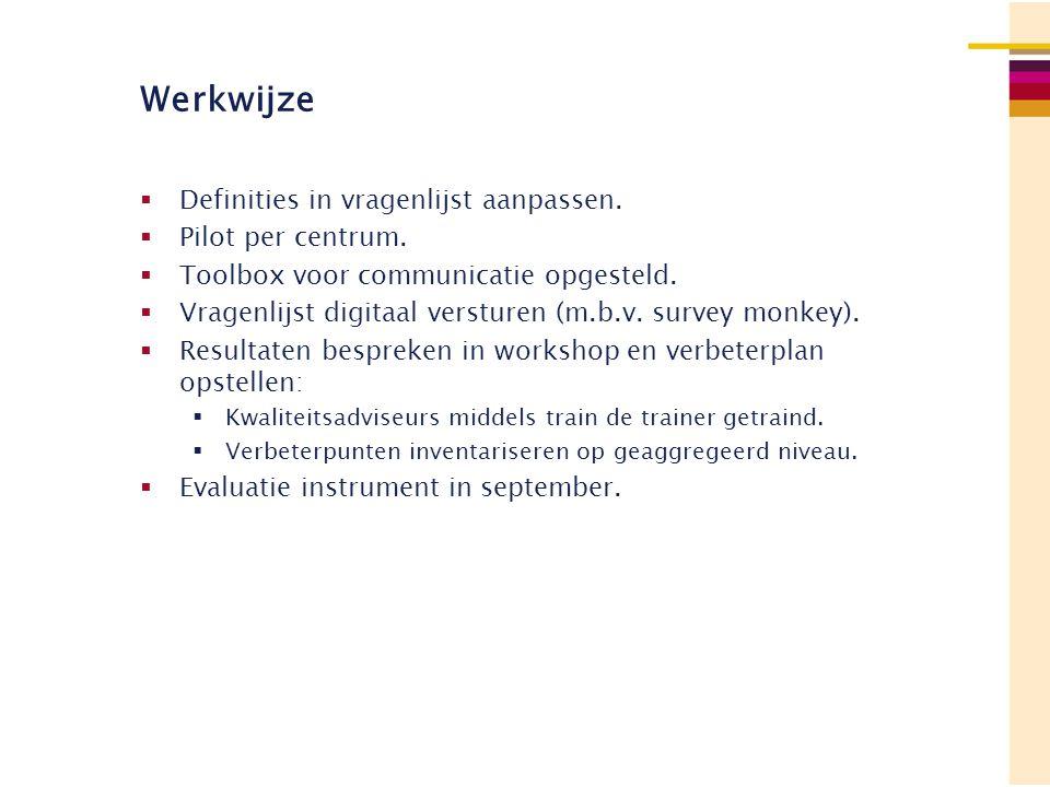 Werkwijze Definities in vragenlijst aanpassen. Pilot per centrum.